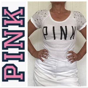 Victoria's Secret PINK white bling sleeve T shirt
